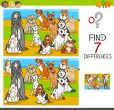 Find differences game with dog animal characters. Cartoon Illustration of Finding Seven Differences Between Pictures Educational Activity Game for Children with Stock Photos
