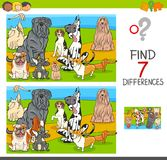 Find differences game with dog characters. Cartoon Illustration of Finding Seven Differences Between Pictures Educational Activity Game for Children with Royalty Free Stock Photo