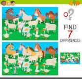 Find differences game with farm animal characters. Cartoon Illustration of Finding Seven Differences Between Pictures Educational Activity Game for Children with Royalty Free Stock Image