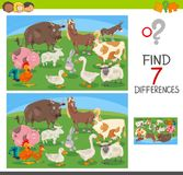 Find differences game with farm animals. Cartoon Illustration of Finding Seven Differences Between Pictures Educational Activity Game for Children with Farm Stock Images