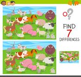 Find differences game with farm animals group. Cartoon Illustration of Finding Seven Differences Between Pictures Educational Activity Game for Children with Stock Photos