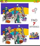 Find differences game with Halloween characters Stock Illustration