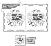 Find 9 differences game  hand maid. Visual game for children, coloring book. Task to find 9 differences in the illustration on the school board. black and white Stock Photos