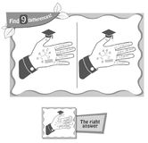Find 9 differences game hand of a student. Visual game for children and adults. Task to find 9 differences in the hand of a student. black and white Stock Photos