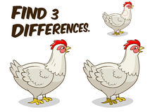 Find differences game hen chicken vector Stock Photo