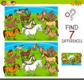 Find differences game with horses animal characters. Cartoon Illustration of Finding Seven Differences Between Pictures Educational Activity Game for Children Stock Photo