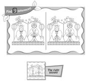 Find 9 differences game Japan dolls. Visual game for children, coloring book. Task to find 9 differences in the illustration on the school board. black and white Royalty Free Stock Photo