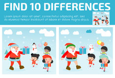 Find differences,Game for kids ,find differences,Brain games, children game, Educational Game for Preschool Children. Vector Illustration, Santa handing out Royalty Free Stock Images