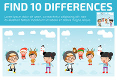 Find differences,Game for kids ,find differences,Brain games, children game, Educational Game for Preschool Children, Vector. Illustration, Santa handing out Stock Images