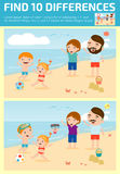 Find differences,Game for kids ,find differences,Brain games, children game, Educational Game for Preschool Children, Vector Illus. Tration, Family on the beach Stock Photo