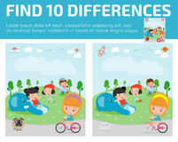 Find differences,Game for kids ,find differences,Brain games, children game, Educational Game for Preschool Children, Vector Illus. Tration, kids at playground Royalty Free Stock Photography