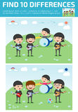 Find differences,Game for kids ,find differences,Brain games, children game,. Educational Game for Preschool Children, four kids in a music band, Vector Stock Images