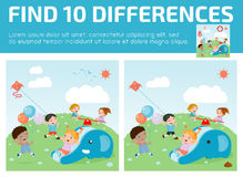 Find differences,Game for kids ,find differences,Brain games, children game,. Educational Game for Preschool Children, Vector Illustration, kids at playground Stock Image