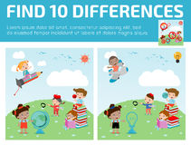 Find differences,Game for kids ,find differences,Brain games, children game,. Educational Game for Preschool Children, Vector Illustration, education concept Stock Photo