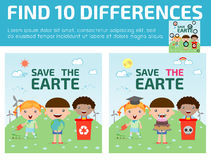 Find differences,Game for kids ,find differences,Brain games, children game,. Educational Game for Preschool Children, Vector Illustration, Kids for Saving Royalty Free Stock Photos