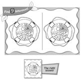 Find 9 differences game lifebuoy. Visual game for children and adults. Task to find 9 differences in the illustration . black and white  illustration Stock Image