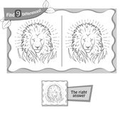 Find 9 differences game  lion Stock Photography