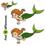 Find differences game (little girl mermaid). Find differences game for children (little girl mermaid Stock Images