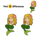 Find differences game (little girl mermaid). Find differences game for children (little girl mermaid Stock Photo