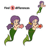 Find differences game (little girl mermaid). Find differences game for children (little girl mermaid Royalty Free Stock Image