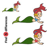 Find differences game (little girl mermaid) Stock Photography
