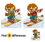 Find differences game: little lion skiing. Find differences game, education game: little lion skiing Royalty Free Stock Photography