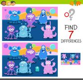Find differences game with monsters Royalty Free Stock Photos