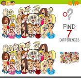 Find differences game with people characters. Cartoon Illustration of Finding Seven Differences Between Pictures Educational Activity Game for Children with Stock Images