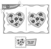 Find 9 differences game pizza heart black. Visual game for children and adults. Task to find 9 differences in the illustration pizza. black and white Stock Photography