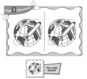 Find 9 differences game plane. Visual game for children, coloring book. Task to find 9 differences in the illustration on the school board. black and white Royalty Free Stock Photography