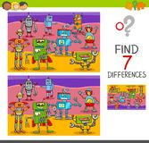 Find differences game with robot characters. Cartoon Illustration of Finding Differences Between Pictures Educational Activity Game for Kids with Robot Royalty Free Stock Photo