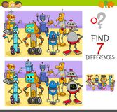 Find differences game with robot characters. Cartoon Illustration of Finding Seven Differences Between Pictures Educational Activity Game for Children with Funny Stock Photo