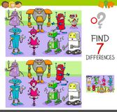 Find differences game with robots fantasy characters. Cartoon Illustration of Finding Seven Differences Between Pictures Educational Activity Game for Children Royalty Free Stock Image