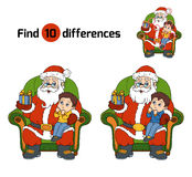 Find differences game: Santa Claus gives a gift a little boy Stock Image
