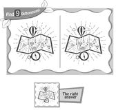 Find 9 differences game travel map black. Visual game for children and adults. Task to find 9 differences in the illustration travel map. black and white Stock Photos