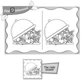 Find 9 differences game tray. Visual game for children and adults. Task to find 9 differences in the tray of food. black and white  illustration Royalty Free Stock Photo