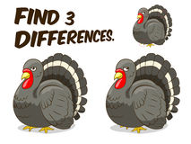 Find differences game turkey vector illustration. Find differences game turkey hand drawn cartoon vector illustration Stock Photo