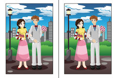 Find the differences game. A vector illustration of find  5 differences game Stock Photography