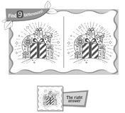 Find 9 differences game whale gifts. Visual game for children, coloring book. Task to find 9 differences in the illustration on the school board. black and white Royalty Free Stock Photo