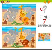 Find differences game with wild animal characters. Cartoon Illustration of Finding Seven Differences Between Pictures Educational Activity Game for Children with Stock Photos