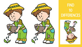 Find differences gardener game. Vector illustration of finding differences educational game with cute cartoon gardener for children Stock Image