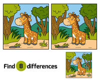 Find differences (giraffe and background). Find differences, education game for children (giraffe and background Stock Photos