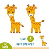 Find differences, Giraffe. Find differences, education game for children, Giraffe Stock Photo