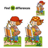 Find differences (Girl artist draws on nature, open air) Stock Photos