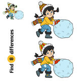 Find differences, Girl and a ball of snow. Find differences, education game for children, Girl and a ball of snow Stock Images