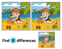 Find differences, girl builds a sand castle. Find differences, education game for children, little girl builds a sand castle on the beach Stock Images