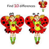 Find 10 differences girl in costume Ladybug. Vector and cartoon illustrations Royalty Free Stock Photo