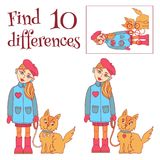 Find 10 differences girl with a dog vector illustration. Find 10 differences girl with a dog cartoon cute characters vector illustration Stock Image