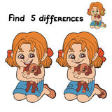 Find differences (girl). Game for children: Find 5 differences (girl Royalty Free Stock Images