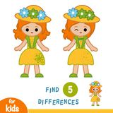 Find differences, Girl in hat and summer dress. Find differences, education game for children, Girl in hat and summer dress Stock Photography
